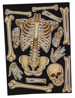 Skelett-Sticker für Fenster Halloween-Partydeko beige 30x40 cm