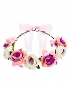 Blumenkrone Haarschmuck Hippie-Accessoire bunt 17 cm