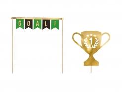 Fußball-Champion Kuchenstecker 2-teilig grün-schwarz-goldfarben 15,5-20 cm
