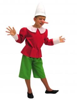 Pinocchio™-Kostüm für Kinder Faschingskostüm rot-grün-weiss