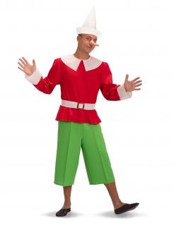 Pinocchio™-Kostüm für Herren Faschingskostüm rot-grün-weiss