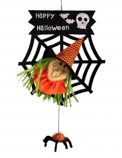 Hexen-Hängedeko Halloween-Partydeko schwarz-orange-grün 50 cm
