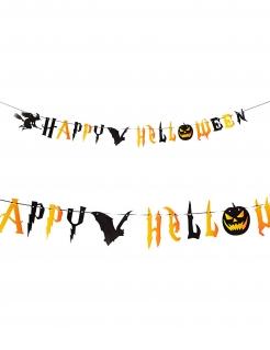 Halloween-Girlande mit Hexe und Fledermaus Halloween-Partydeko schwarz-orange 250 cm