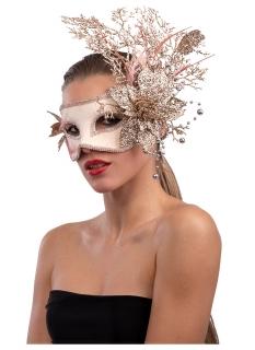 Prächtige venezianische Augenmaske für Damen Blumen rosa-goldfarben
