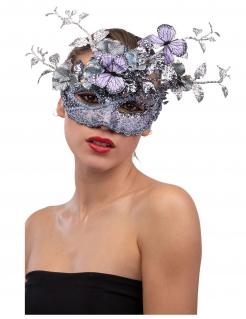 Glitzernde Venezianische Augenmaske für Damen mit Schmetterlingen violett-silberfarben
