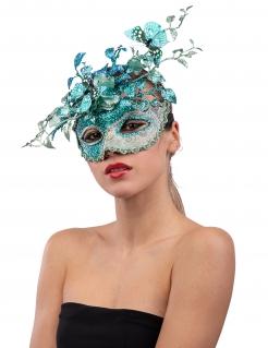 Venezianische Maske mit Schmetterlingen türkis-grau