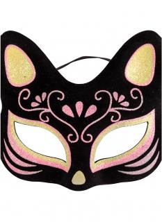 Glitzer-Katzenmaske für Erwachsene schwarz-pink-gold