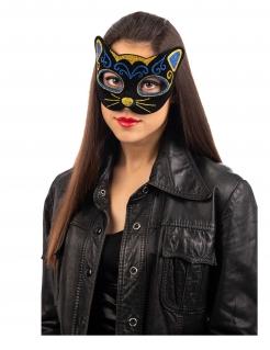 Glitzernde Katzenmaske schwarz-blau-goldfarben