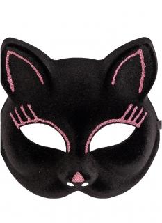 Elegante Katzenmaske für Erwachsene schwarz-pink