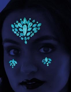 Nachtleuchtende Tattoos für das Gesicht selbstklebend blau