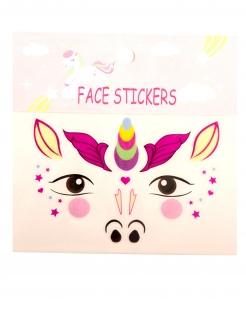 Einhorn-Gesichtstattoos für Kinder selbstklebend bunt