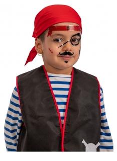 Piraten Klebe-Tattoos für Kinder schwarz-rot