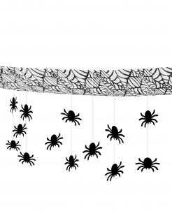 Spinnen-Girlande Halloween-Deko schwarz 3 m