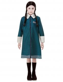 Wednesday-Kinderkostüm für Halloween Addams Family™ blau-weiß-schwarz