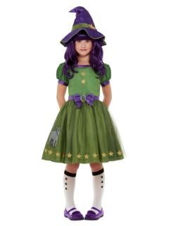 Hexen-Kostüm für Mädchen Santoro™ Halloweenkostüm grün-violett