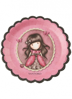 Offizielle Ruby Santoro™-Teller 8 Stück pinkfarben-bunt 23 cm