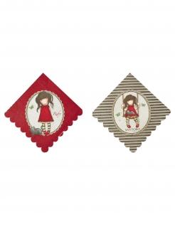 Ruby Santoro™-Servietten Partydeko Tisch 8 Stück rot-braun 33x33 cm
