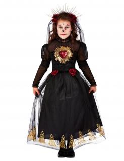 Tag der Toten-Braut-Kostüm für Mädchen Halloweenkostüm rot-schwarz-gold