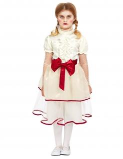 Porzellan-Horror-Puppe Kostüm für Mädchen Halloween-Kostüm weiss-rot
