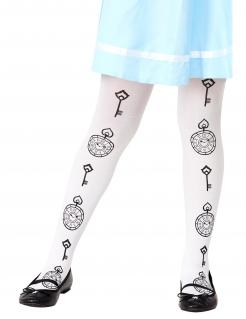 Alice-Kinderstrumpfhose weiss-schwarz