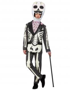 Tag der Toten-Kostüm für Herren Halloweenkostüm schwarz-weiss