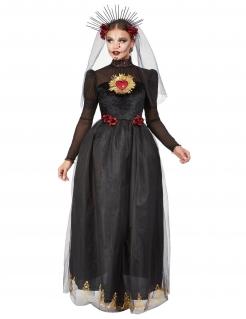 Tag der Toten-Braut-Kostüm für Damen Halloweenkostüm schwarz-rot