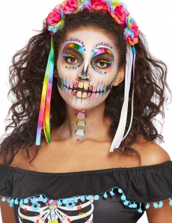 Skelett-Make-up-Set für Damen mit Aufklebern, Strasssteinen und Haarband Halloween-Schminke bunt