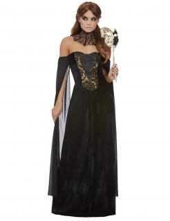 Gräfin-Gothic-Kostüm für Damen Halloween-Kostüm schwarz-gold