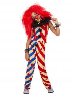 Creepy Clown-Kostüm für Mädchen Halloween-Kostüm rot-blau-beige