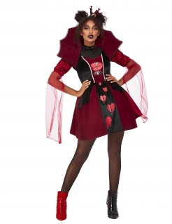 Herzkönigin-Kostüm für Damen gebrochenes Herz Halloweenkostüm schwarz-rot