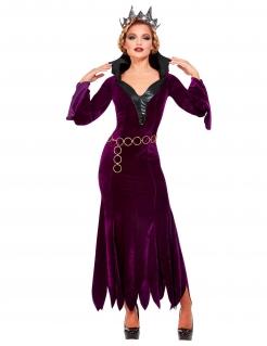 Gräfin-Kostüm für Damen Faschingskostüm violett-schwarz-gold