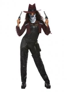 Mysteriöses Cowgirl-Kostüm für Damen Halloweenkostüm schwarz-rot