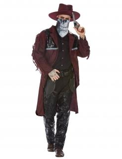 Mysteriöser Cowboy-Kostüm für Herren Halloweenkostüm rot-schwarz
