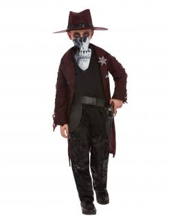 Schauriges Cowboy-Kostüm für Jungen Halloweenkostüm rot-schwarz