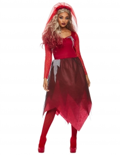 Teuflisches Braut-Kostüm für Damen Halloween-Kostüm schwarz-rot