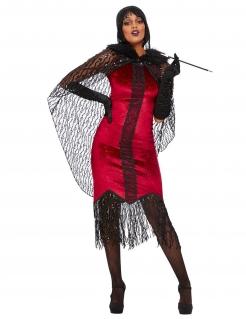 20er Jahre-Vampirin-Kostüm für Damen Halloweenkostüm schwarz-weiss