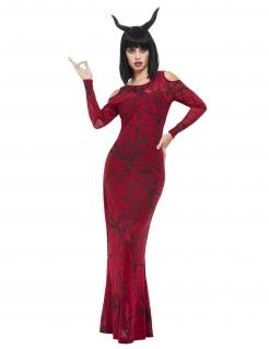 Teufel-Kostüm für Damen Deluxe Halloweenkostüm schwarz-rot