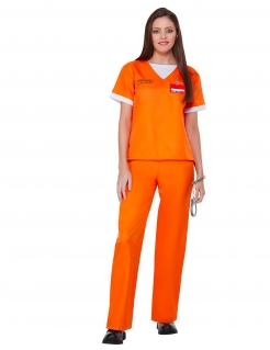 Orange is the New Black™-Häftlingskostüm für Damen Karneval orange-weiss