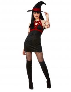 Satanisches Hexen-Kostüm für Damen Halloweenkostüm schwarz-rot