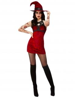Teuflisches Hexen-Kostüm für Damen Halloweenkostüm schwarz-rot