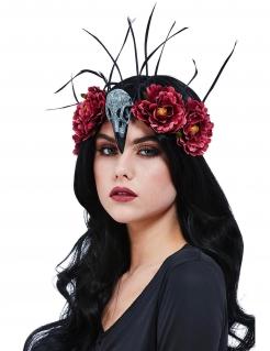 Hexen-Stirnband für Damen Halloween-Accessore rot-grau-schwarz