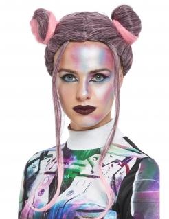 Aussergewöhnliche Perücke für Damen mit Haarknoten Faschings-Accessoire rosa