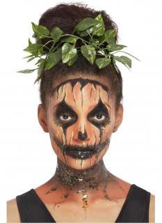 Kürbis-Make-up mit Blätterschmuck für Damen Halloween-Schminke orange-schwarz-grün