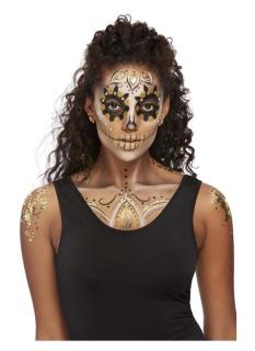 Funkelndes Make-up und Schmuck-Set für Damen goldfarben-schwarz-weiß
