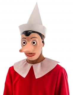Pinocchio™-Maske für Erwachsene mit abnehmbarer Nase Faschingsmaske beige