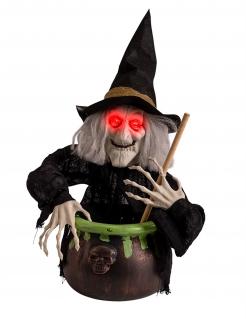Leuchtende Deko-Hexe im Kessel mit Sound Halloween-Deko schwarz-rot-grün 70 cm