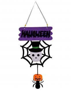 Halloween-Hängedeko mit Totenkopf und Spinne bunt 60 cm
