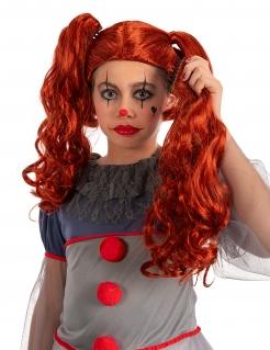 Horrorclown-Perücke für Kinder Kostümzubehör orangefarben