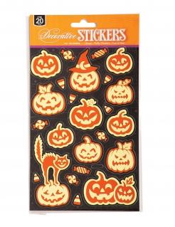 Leuchtende Kürbis-Sticker Halloween-Partydeko 20 Stück orange