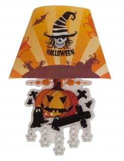 Kürbis-Dekoleuchte Halloween-Dekoration orange-schwarz-weiss 22 cm